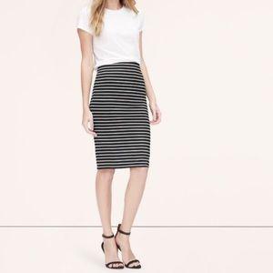 Vince Camuto Black White Striped Midi Pencil Skirt